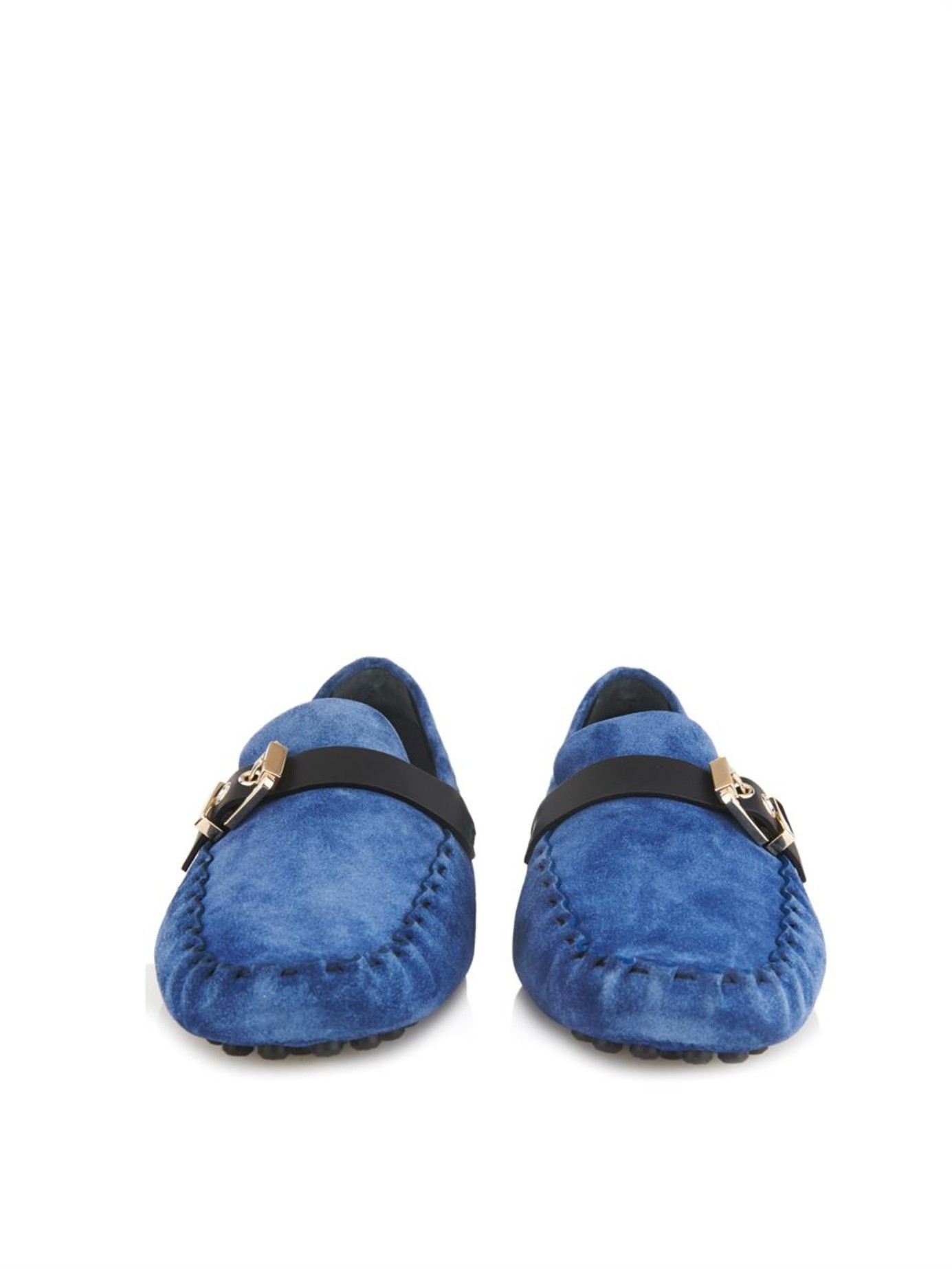 Sergio Rossi Suede Leather-strap Driving Shoes in Blue for Men
