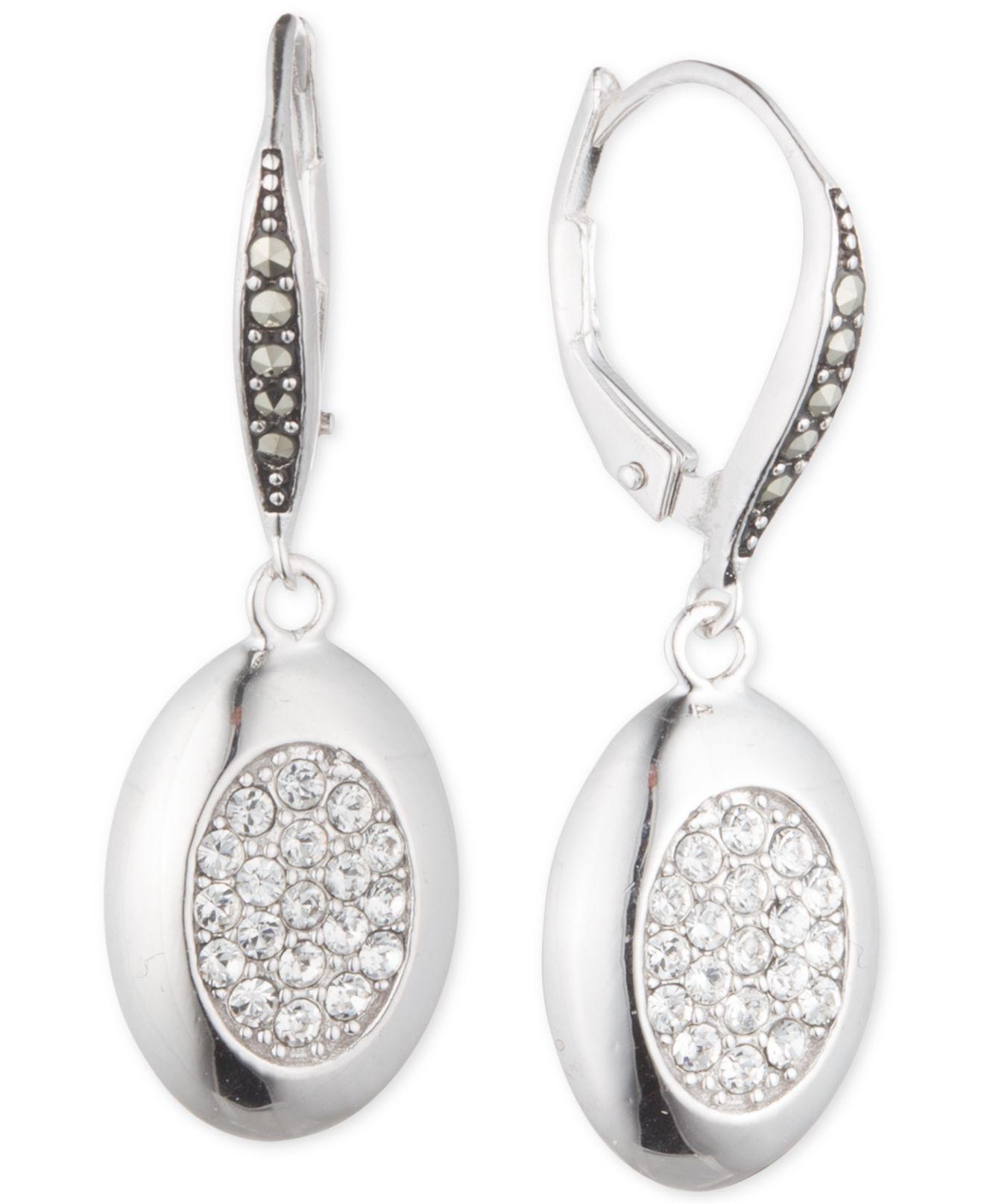 Silver & Swarovski marcasite interlinked hoop stud earrings idV2ndH2J5