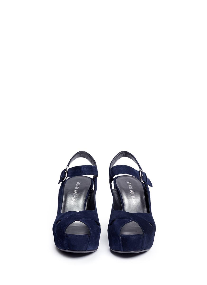 e5069ca144231 Stuart Weitzman 'turnover' Suede Wedge Platform Sandals in Blue - Lyst