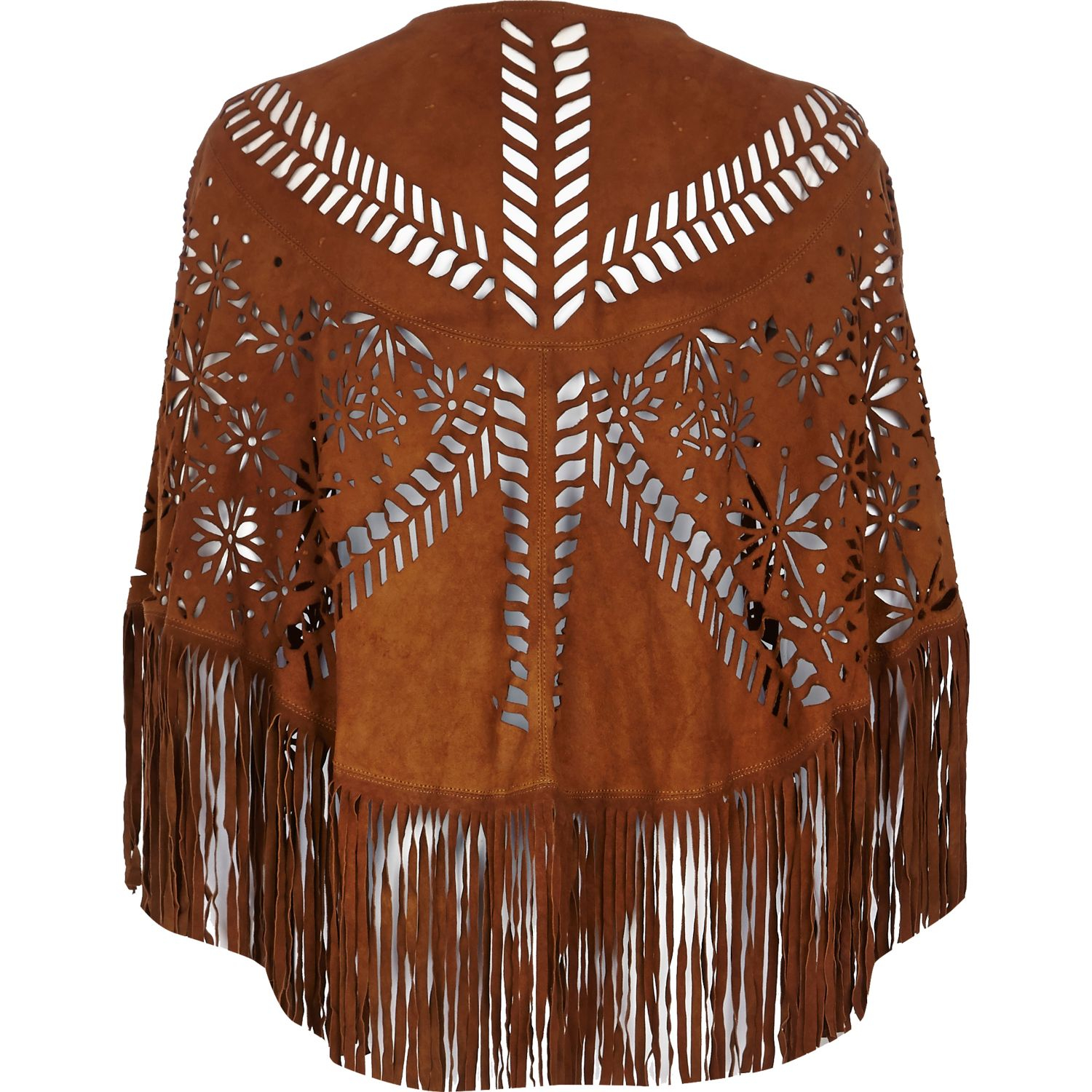 River Island Tan Laser Cut Suede Fringed Cape in Brown