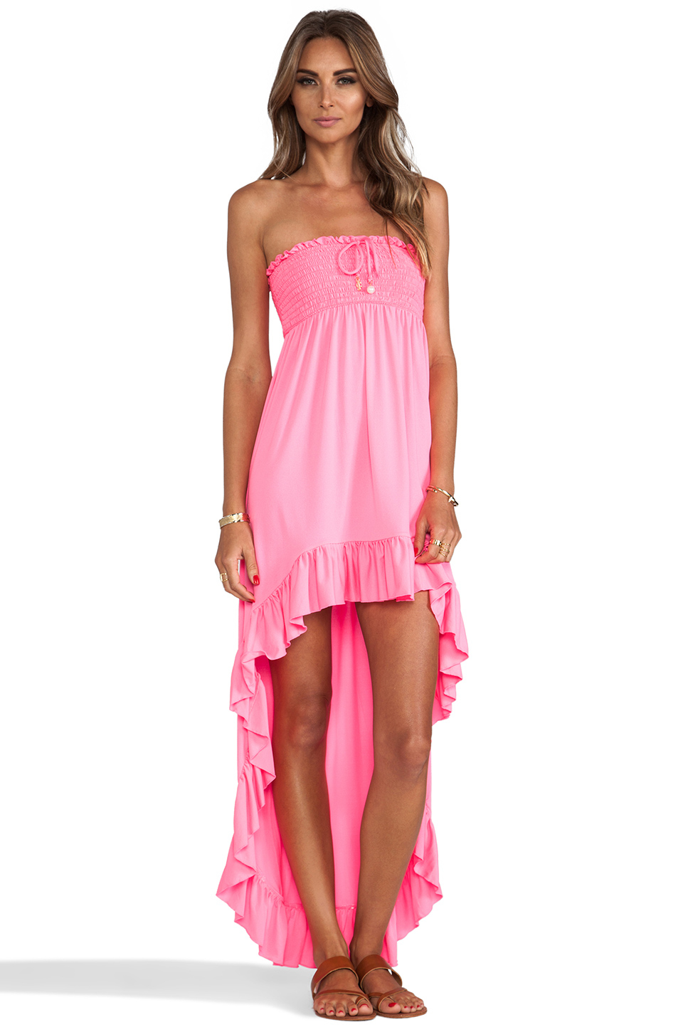 Lyst juicy couture bow chic high low cover up dress in pink for High couture clothing
