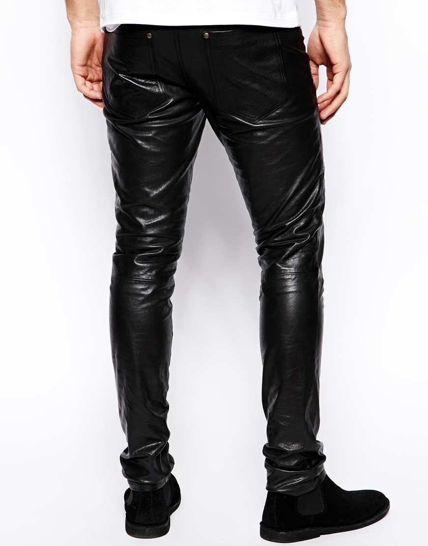 Lyst - Selected Leather Trousers in Black for Men