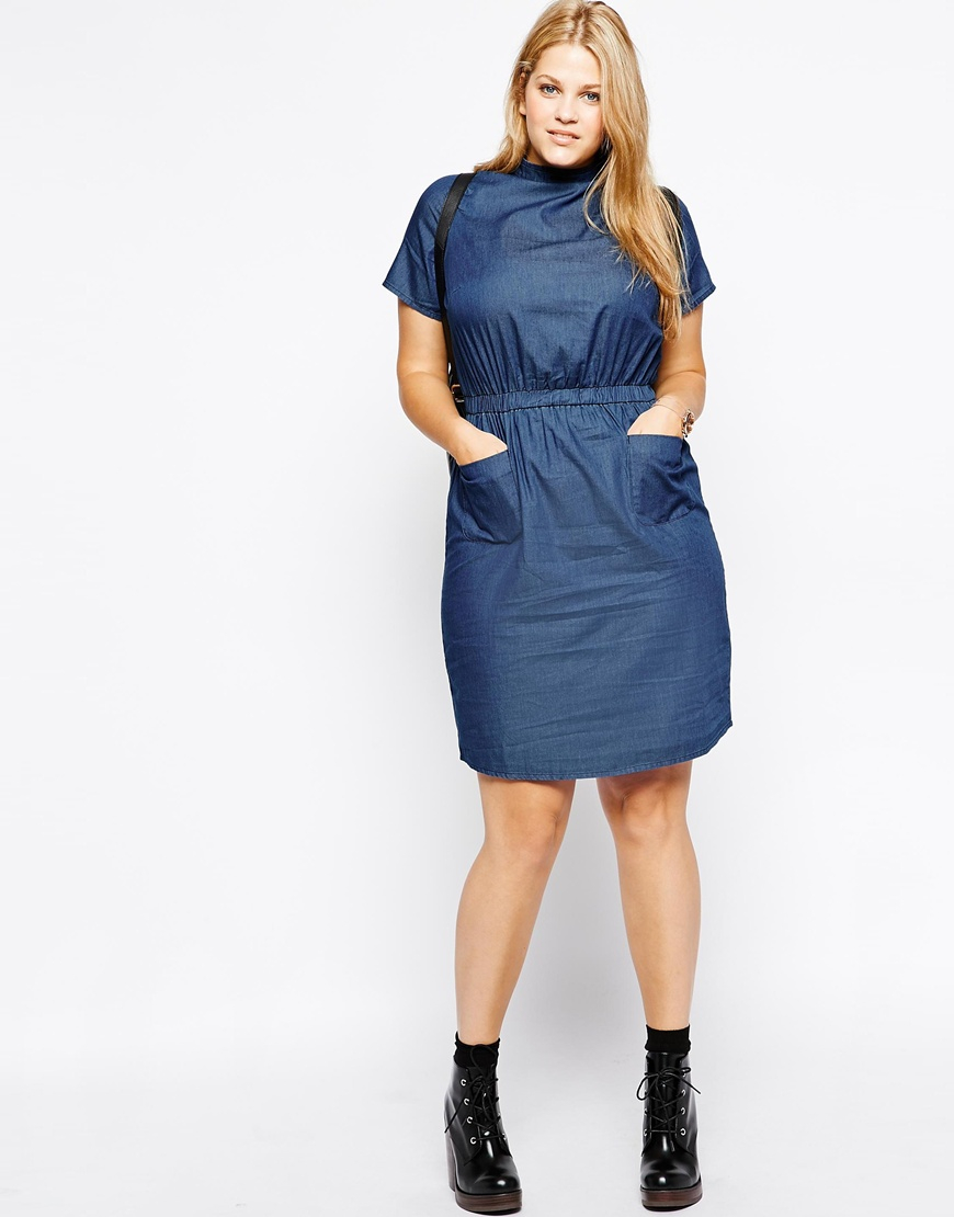 1e4234400467d Lyst - ASOS T-shirt Pocket Dress In Denim With High Neck in Blue