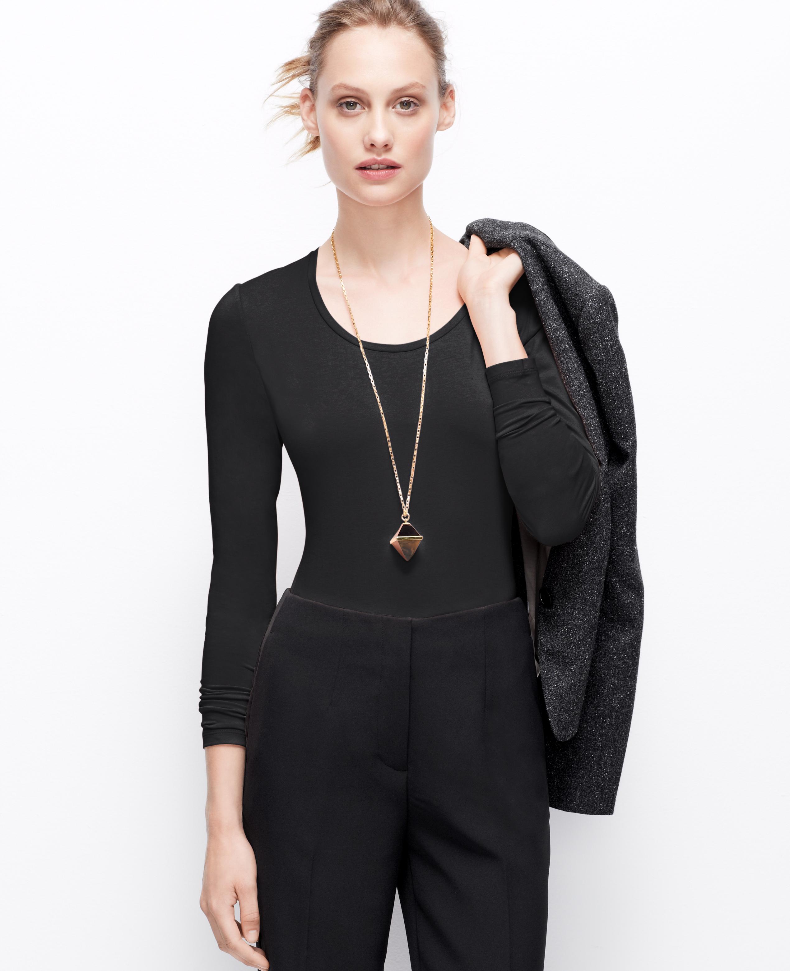 Ann taylor petite scoop neck long sleeve tee in black lyst for Adam lippes women s long sleeve vee t shirt
