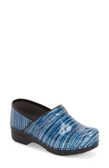 Dansko Pro Xp Patent Leather Clog In Blue Lyst