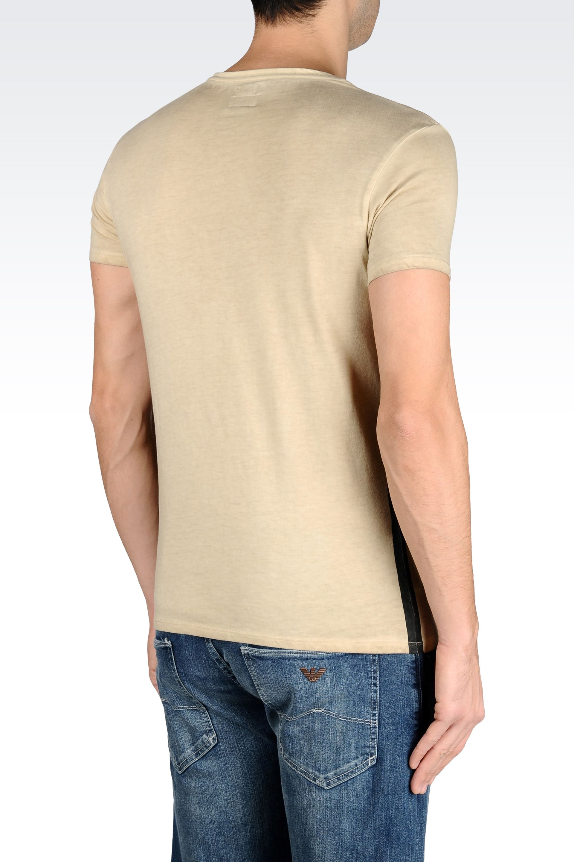 armani jeans t shirt in cotton jersey in natural for men lyst. Black Bedroom Furniture Sets. Home Design Ideas