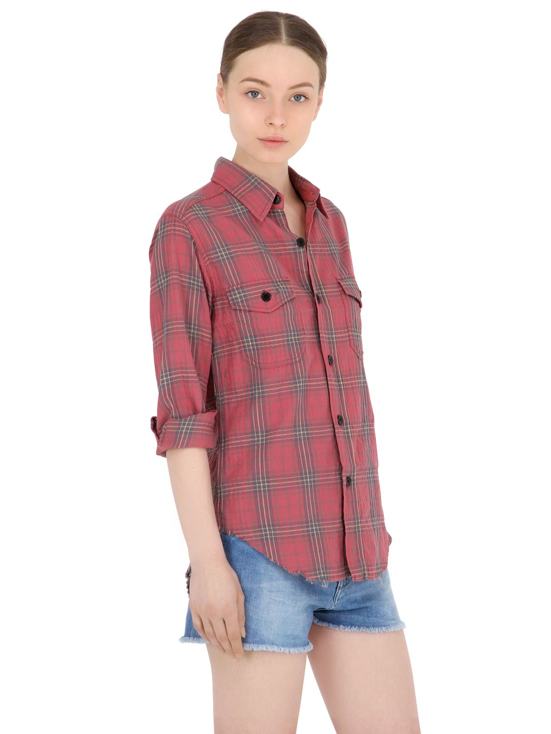 Saint Laurent Plaid Cotton Shirt With Raw Cut Hem In Red