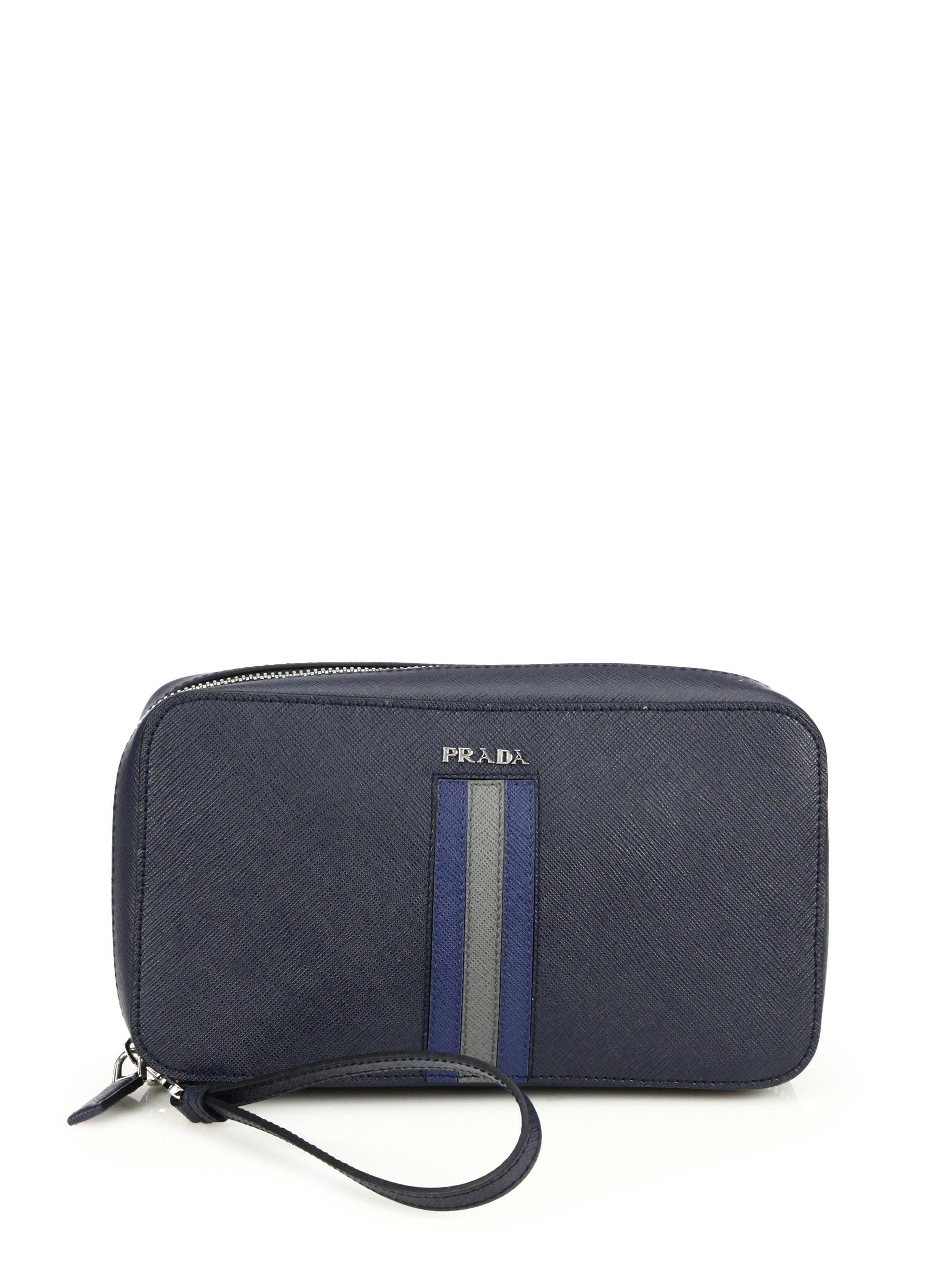prada brown leather bowler bag - prada pouch baltic blue