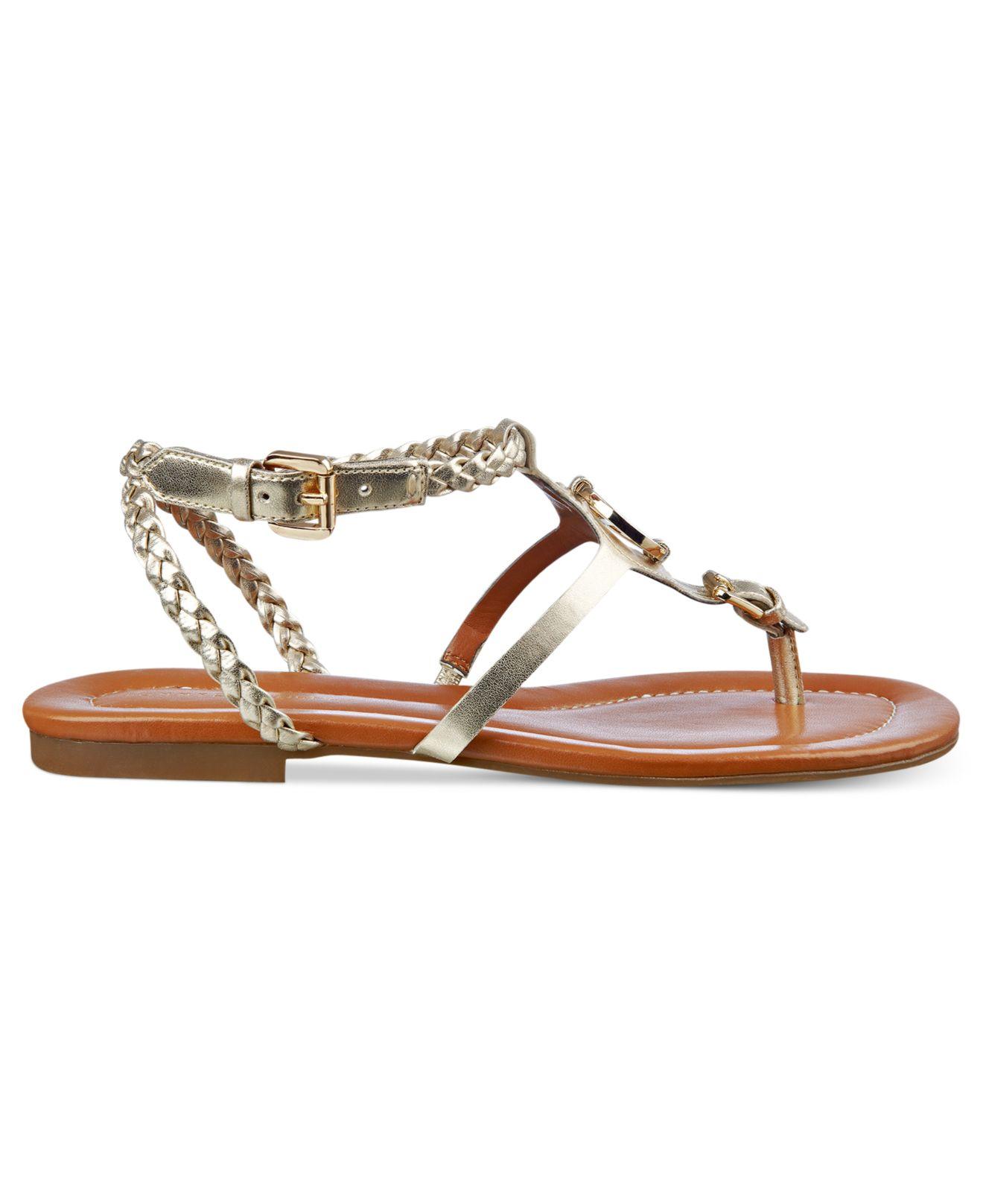 Tommy Hilfiger Strom Flat Sandals In Metallic Lyst