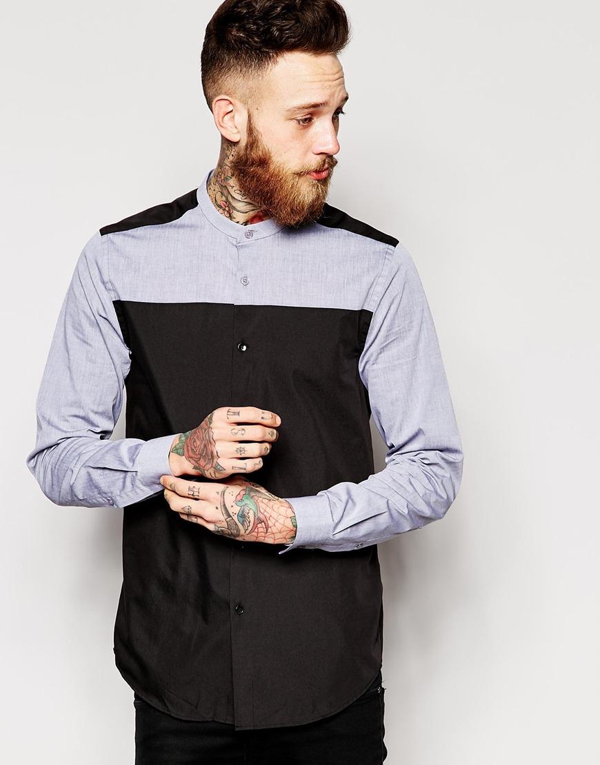 Asos shirt in long sleeve with grandad collar in blue for Mens grandad collar shirt