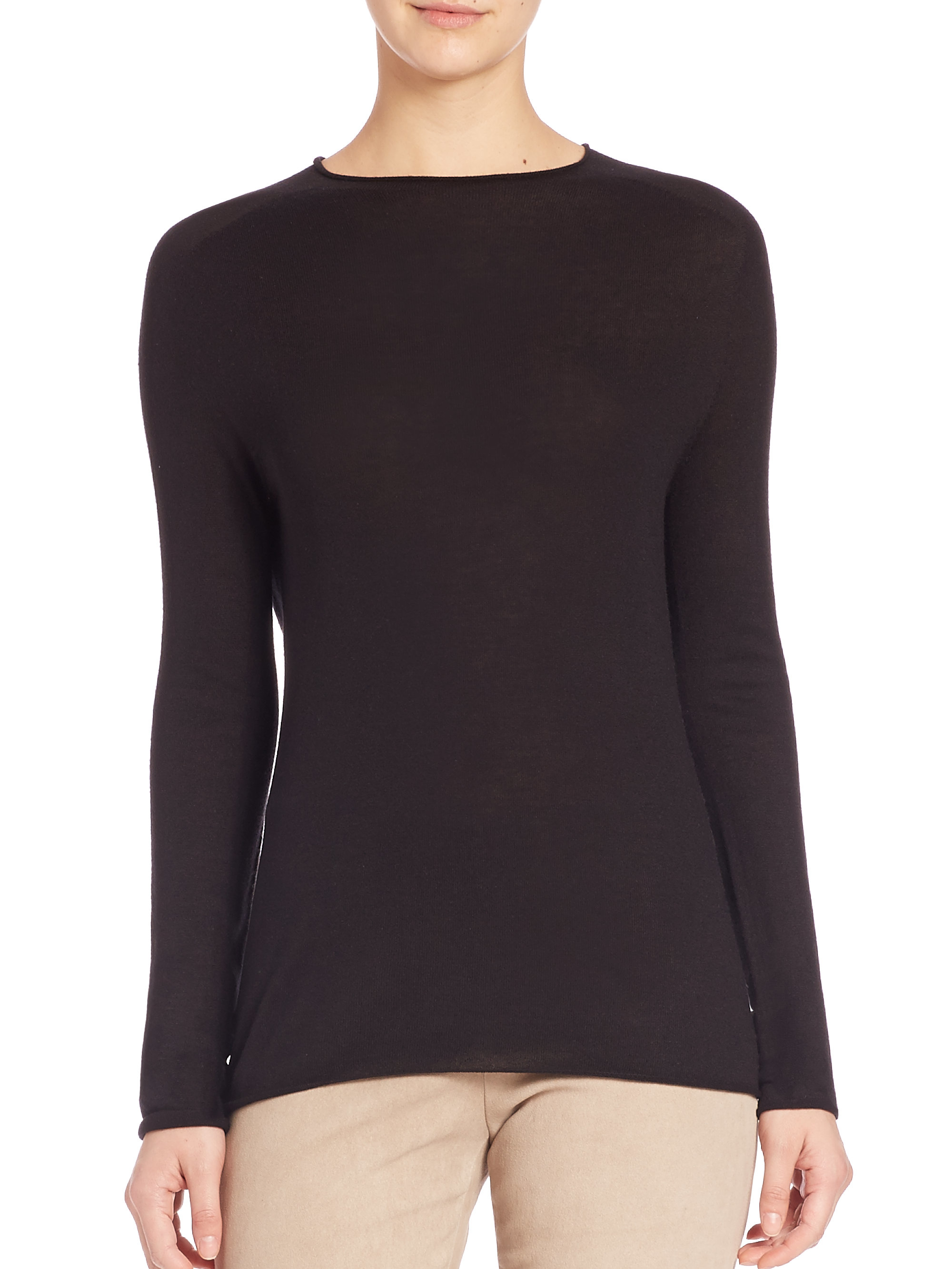 Vince Rolled-neck Silk-cashmere Sweater in Black | Lyst