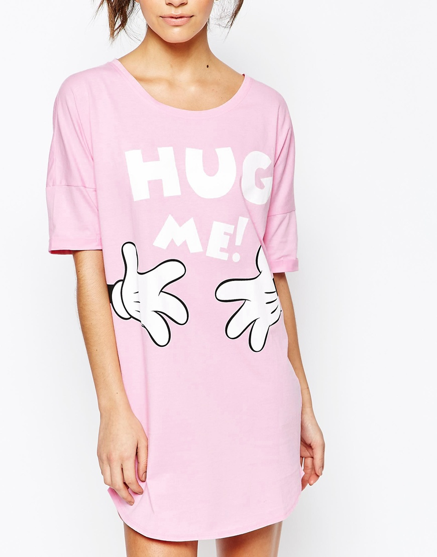 Missimo Disney Minnie Mouse Hug Me Nightshirt In Pink Lyst