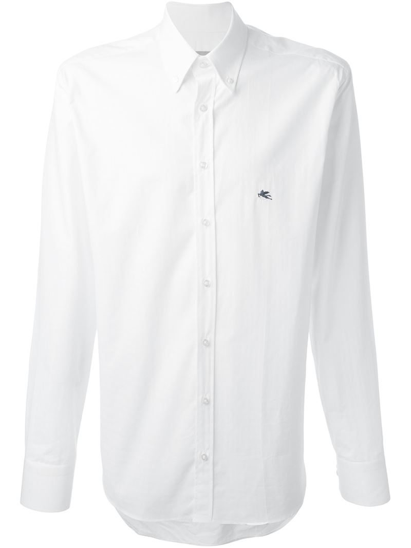 Etro Button Down Collar Printed Shirt In White For Men Lyst