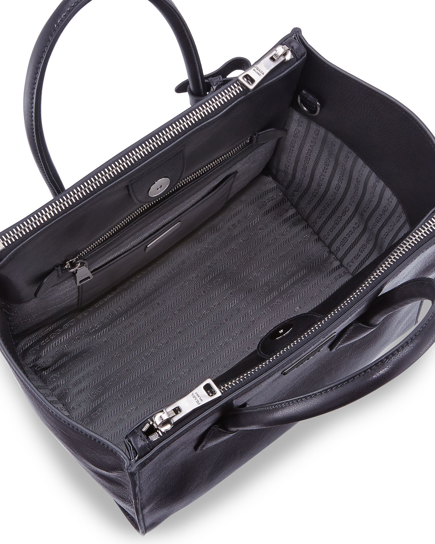 Prada Glace Calf Twin Pocket Tote Bag in Black (BLACK(NERO))  ef571dac08ec3