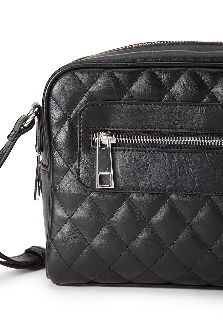 Forever 21 Quilted Faux Leather Crossbody Bag in Black | Lyst : quilted faux leather tote - Adamdwight.com