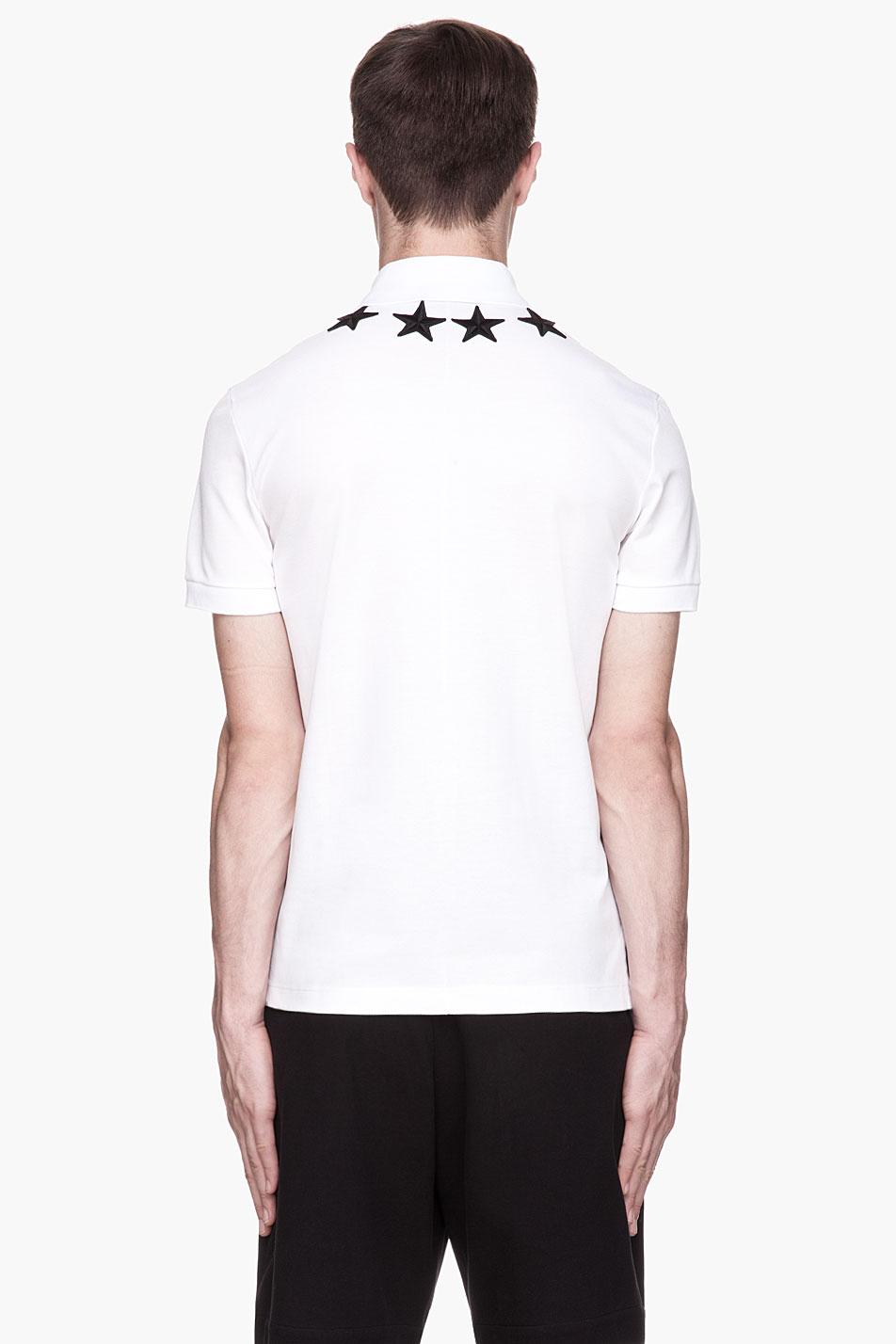 5fe0535c7e6c8 Givenchy White Star Appliqu Polo in Black for Men