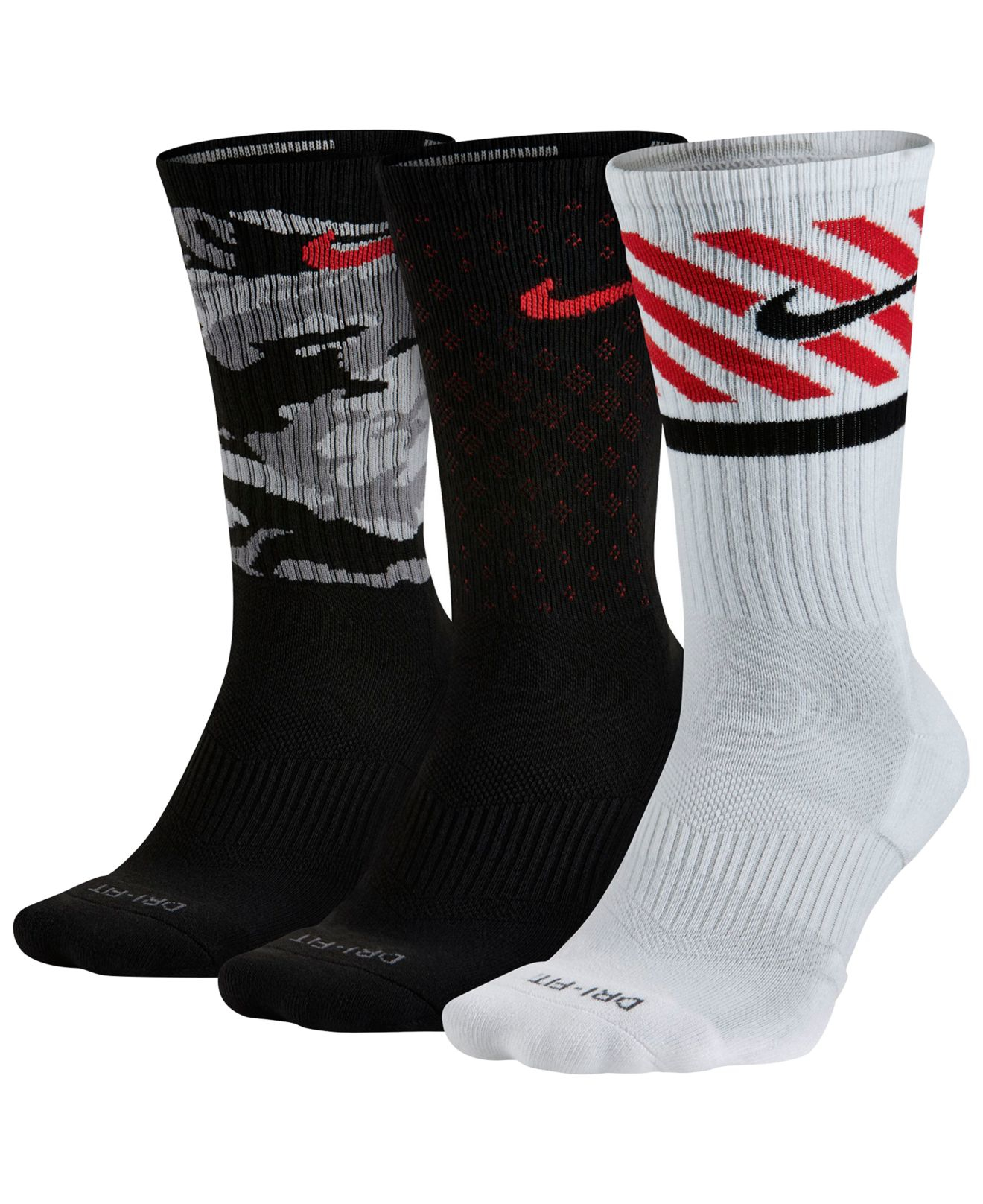 Nike Dri Fit Fly Crew Pack Sports Socks 3 Pack Red, White