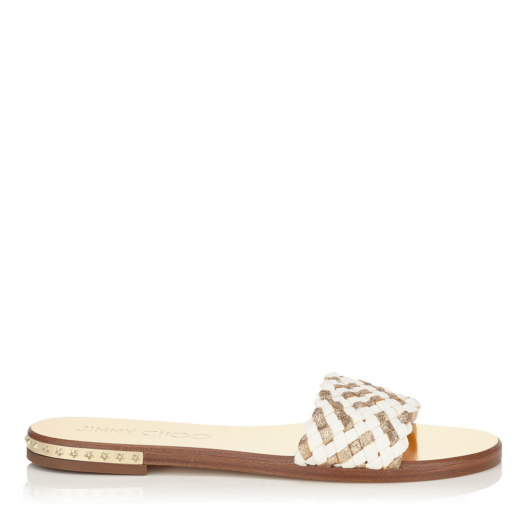 aa6280a10830 Lyst - Jimmy Choo Woven-Leather Slides in White