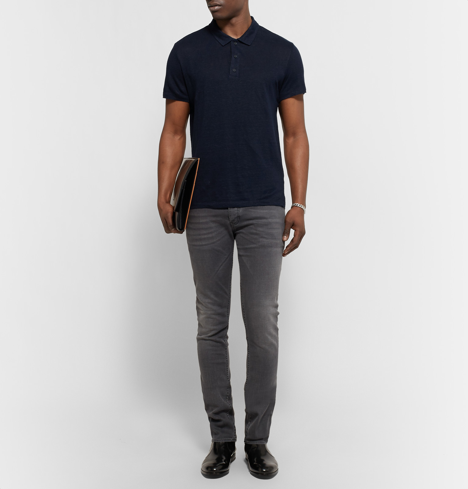 Sandro Slim Fit Slub Linen Polo Shirt In Blue For Men