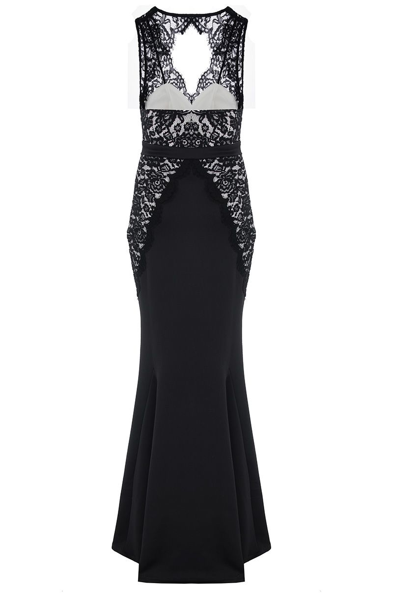 Quiz Black Lace Fishtail Maxi Dress Lyst