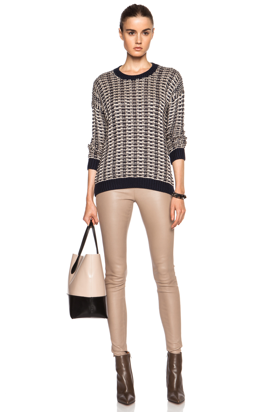 Vince Mercerized Texture Cotton Sweater in Blue   Lyst