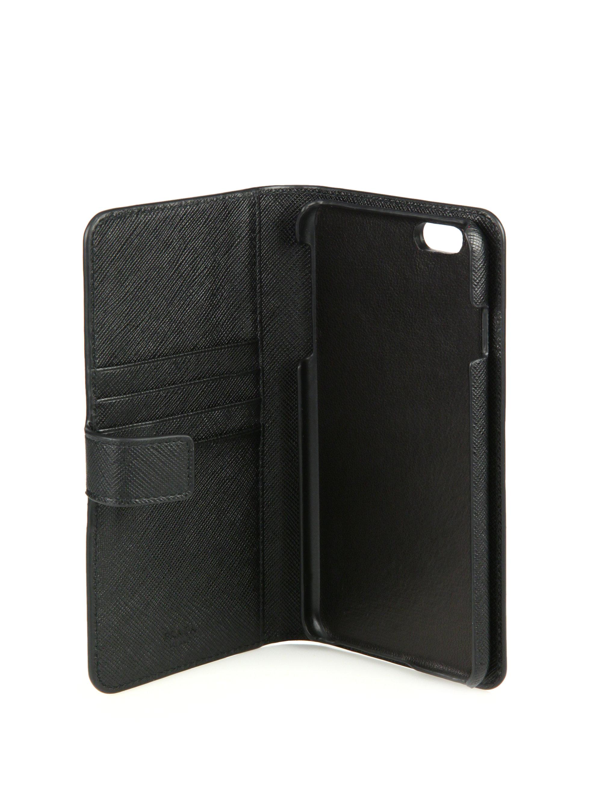 new styles 928a1 c858e Prada Black Iphone 6 Plus Holder & Wallet for men