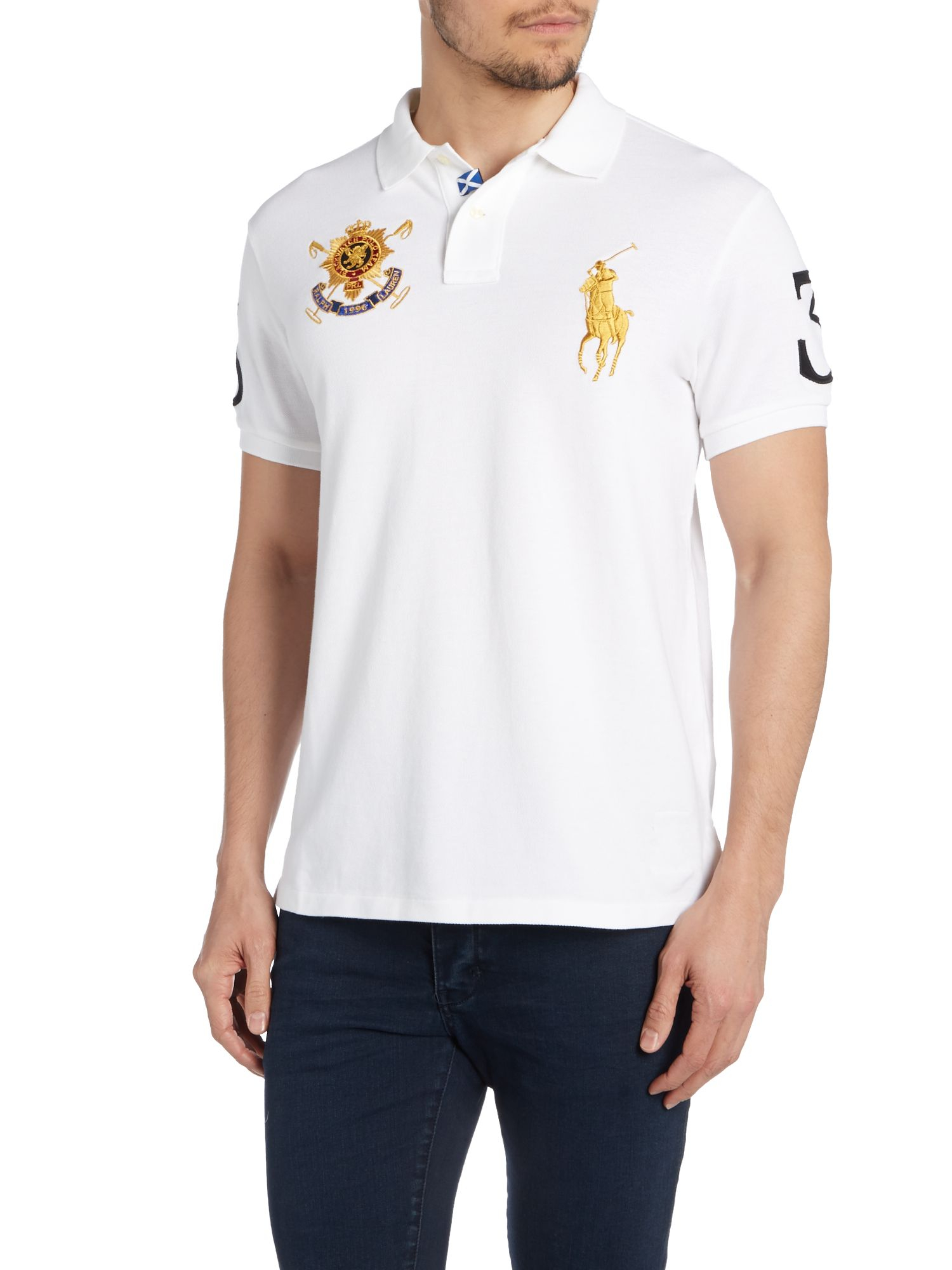 Polo ralph lauren plain custom fit polo shirt in white for for White fitted polo shirts