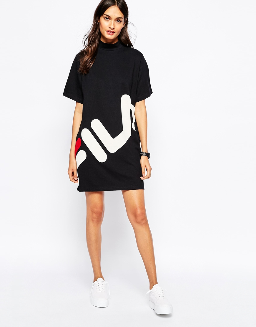 d573421b Fila Black High Neck T-shirt Dress With Large Front Logo