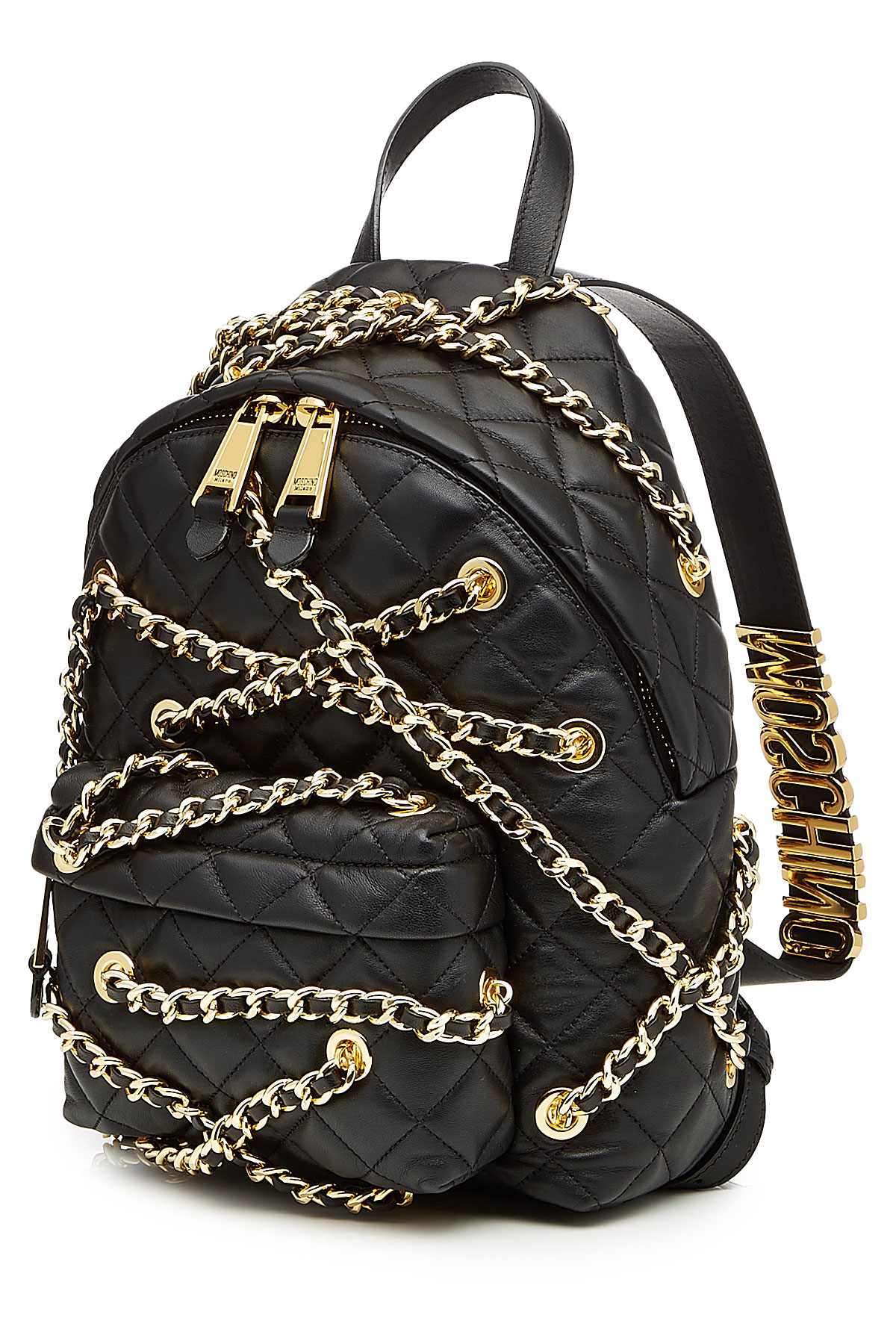 Moschino Quilted Leather Backpack With Gold Tone Chains