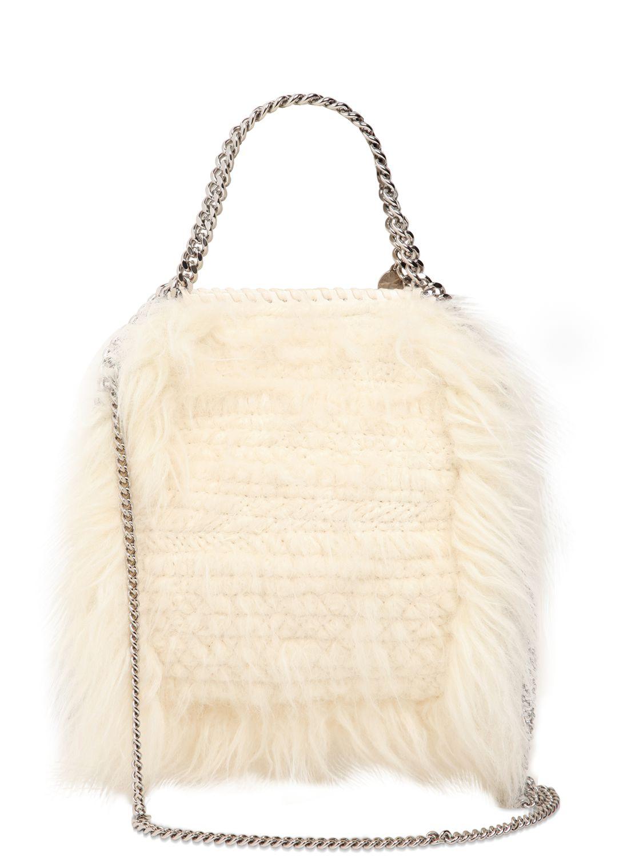 e53817fc2f Lyst - Stella McCartney Mini 3chain Falabella Faux Fur Bag in Natural