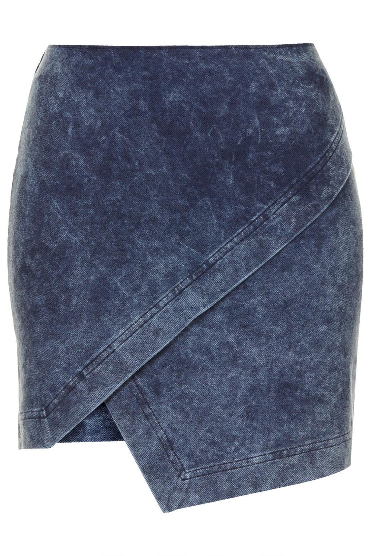 topshop asymmetric wrap skirt in blue lyst