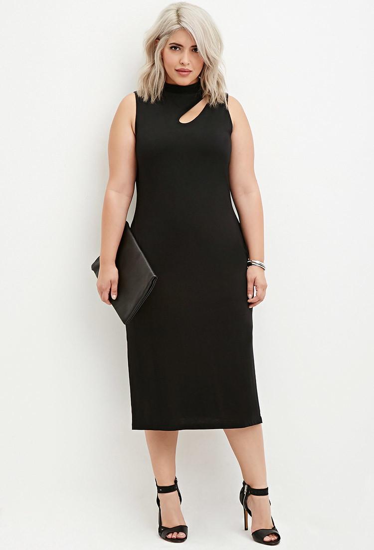 Forever 21 Cutout Midi Dress in Black   Lyst