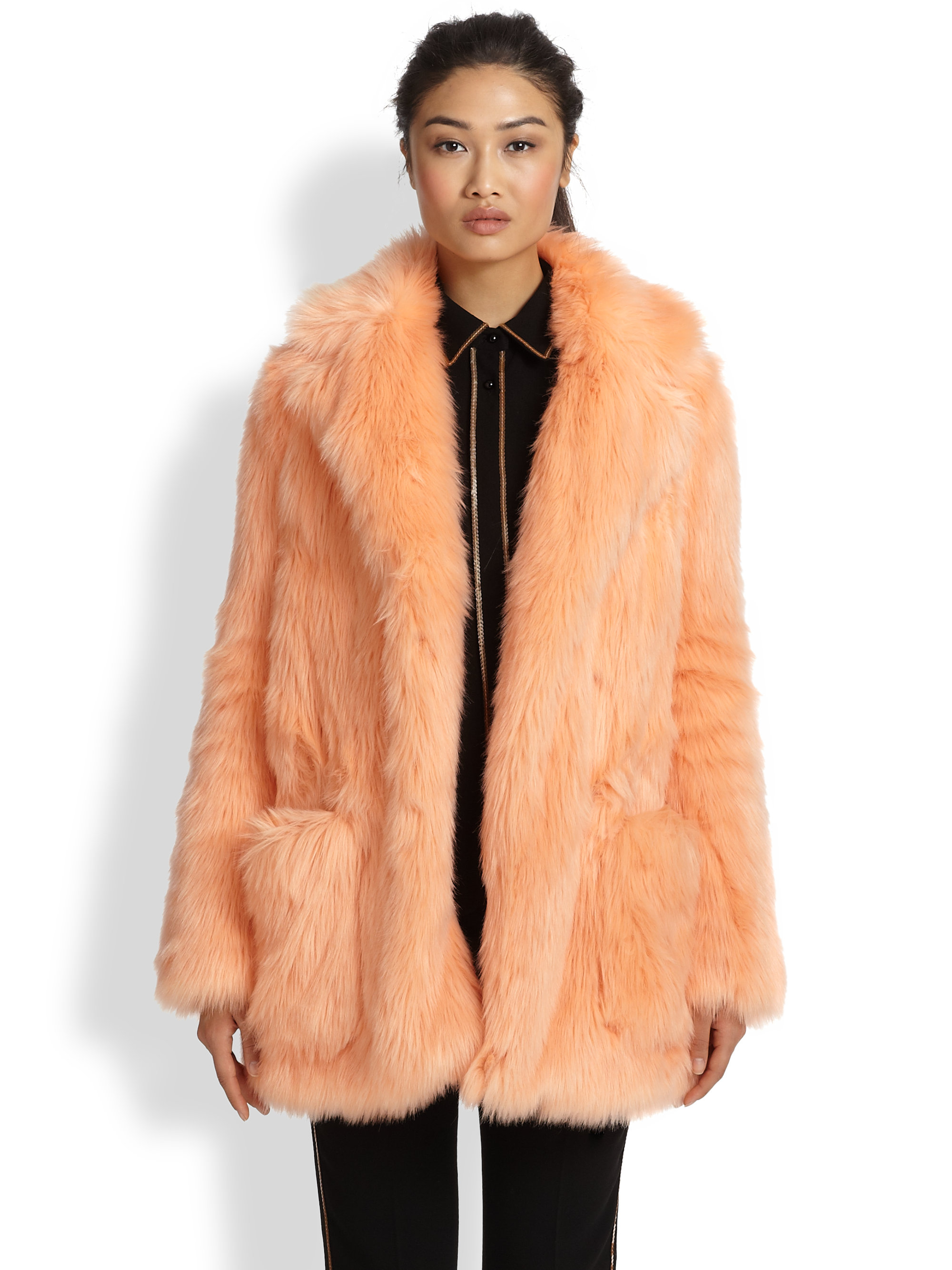 See by chloé Faux Fur Coat in Pink | Lyst