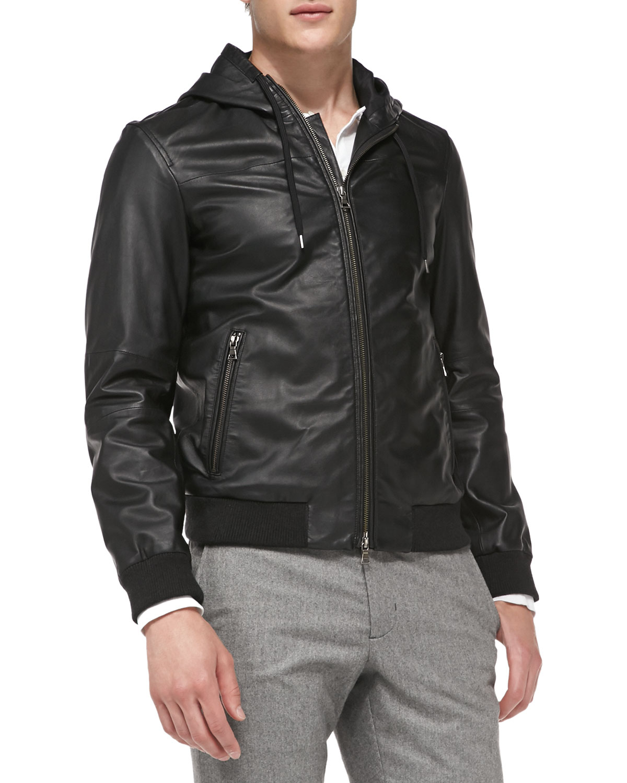 Vince Sheepskin Leather Hooded Bomber Jacket In Navy Blue
