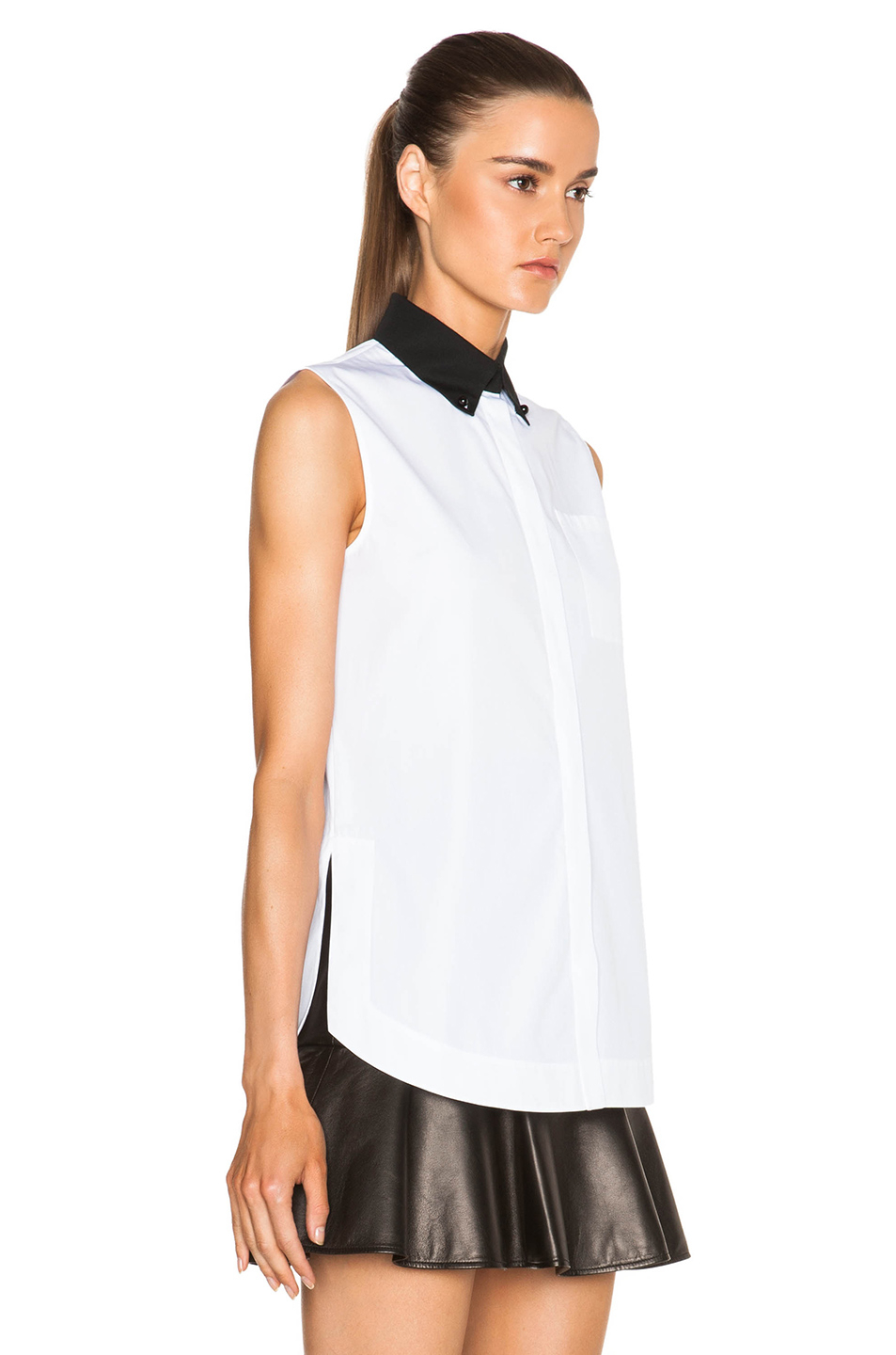 Givenchy Contrast Collar Sleeveless Poplin Shirt With
