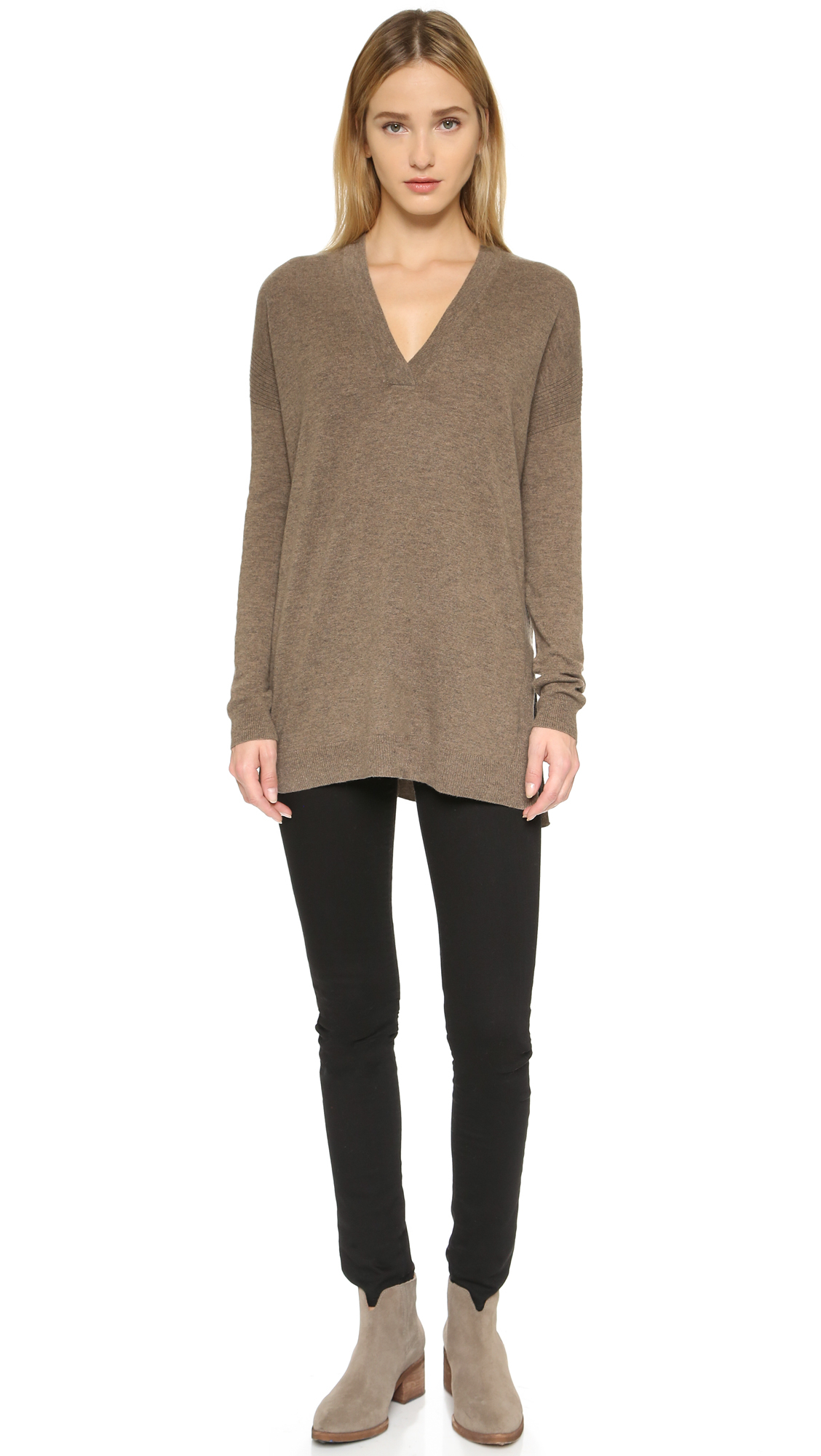 Vince Cashmere V Neck Sweater in Brown | Lyst