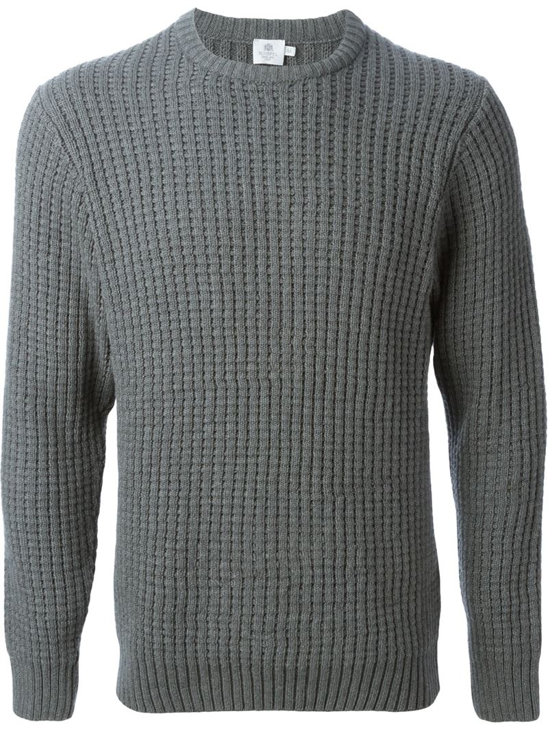Sunspel Ribbed Sweater in Gray for Men | Lyst