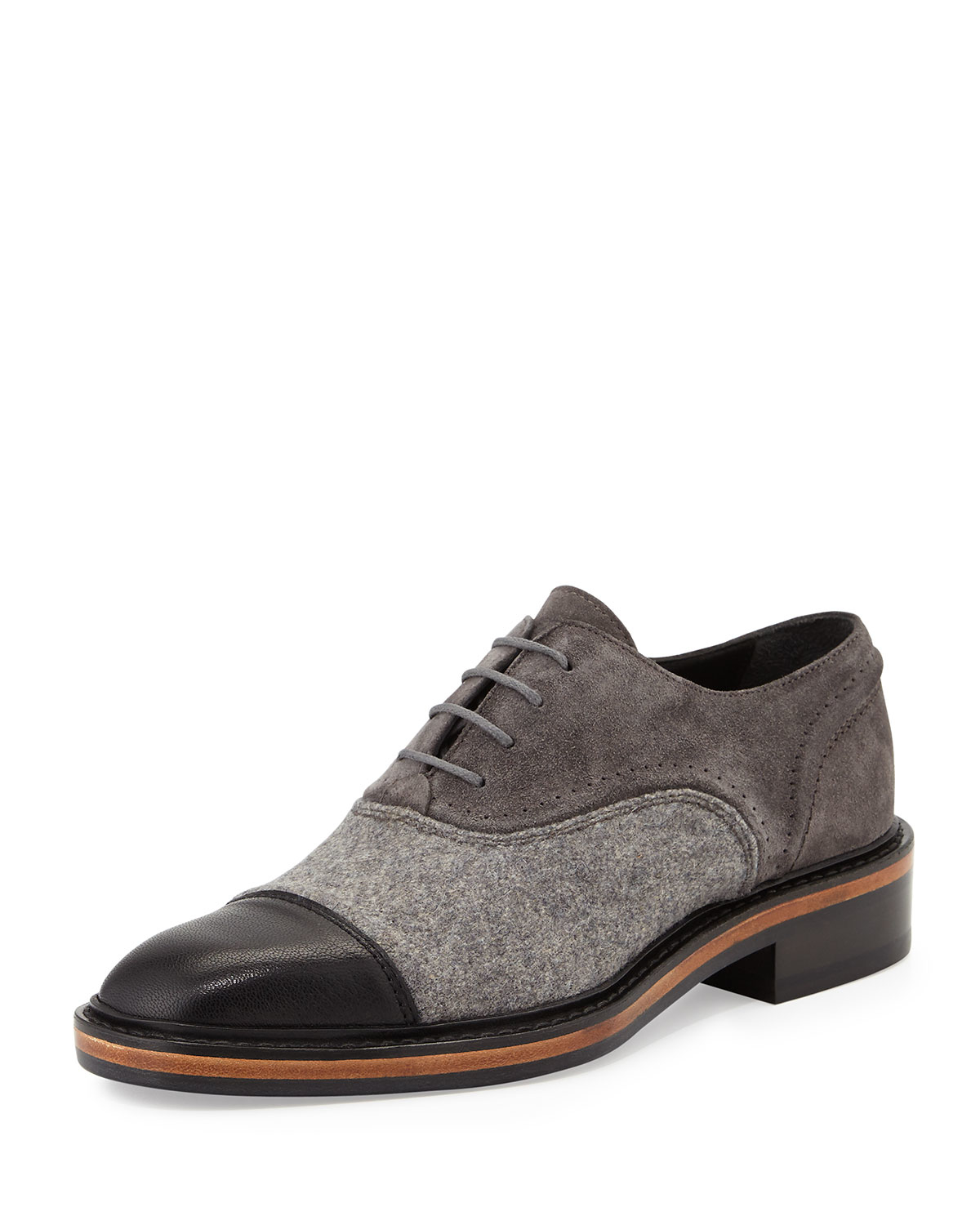 Lanvin Leather, Felt and Suede Oxford Shoes in Gray | Lyst