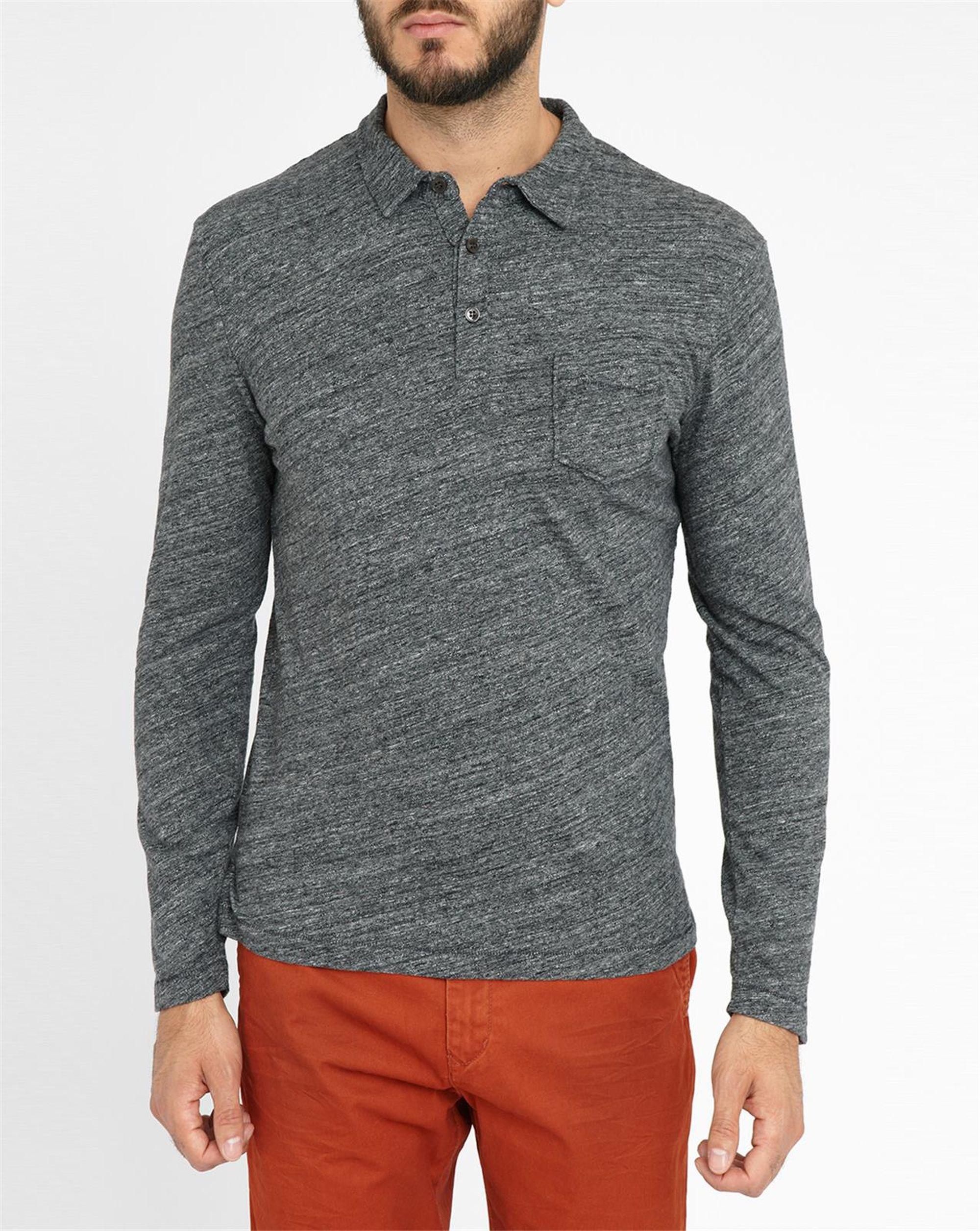 Harris Wilson Mottled Charcoal Jersey Knit Ls Polo Shirt