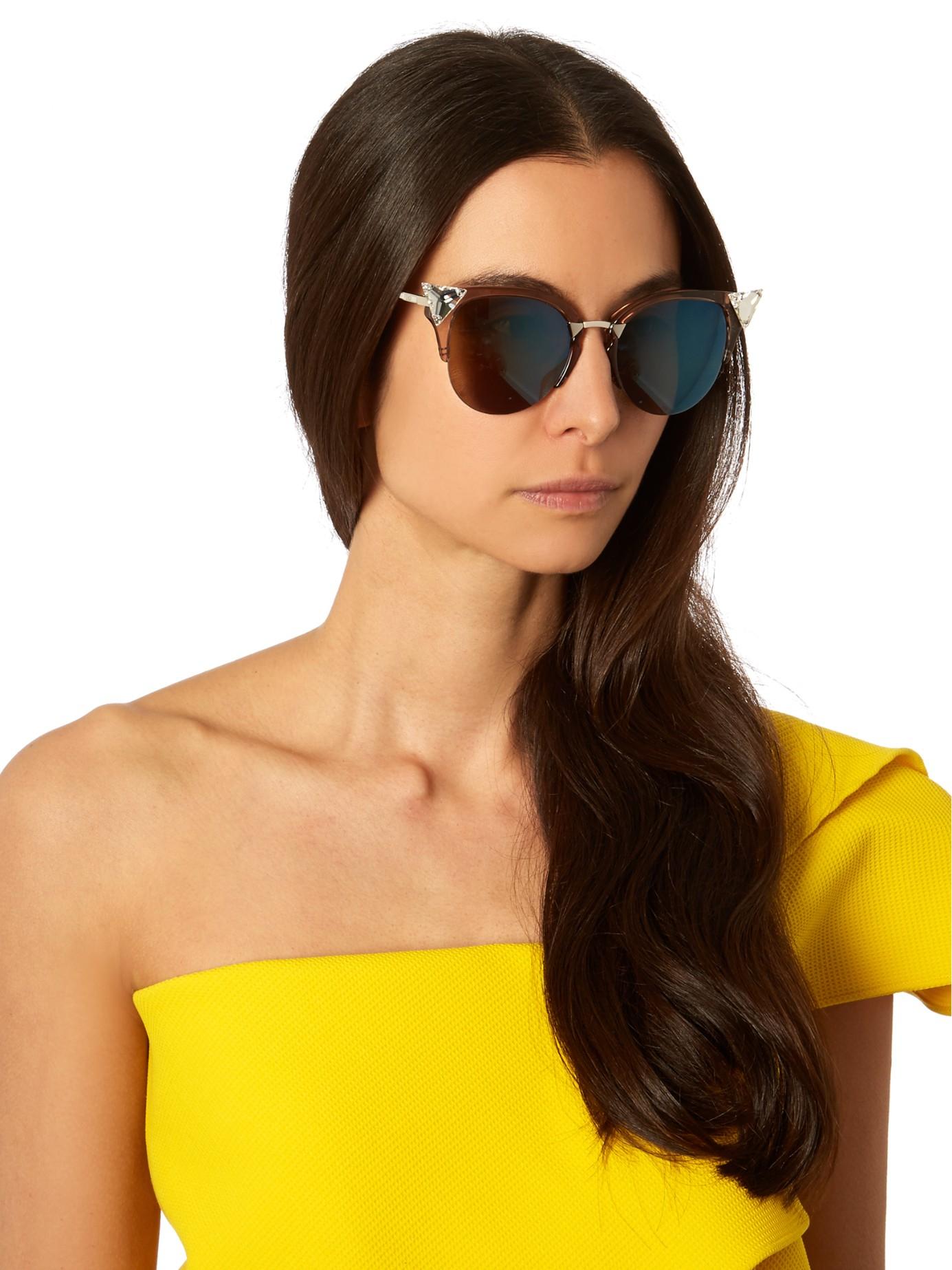 Cat Fendi Frame Eye Pink Half Sunglasses rdtCsQh