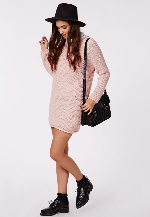 9bf8f17fca Missguided Ashlie Knitted Sweater Dress Pink in Pink - Lyst