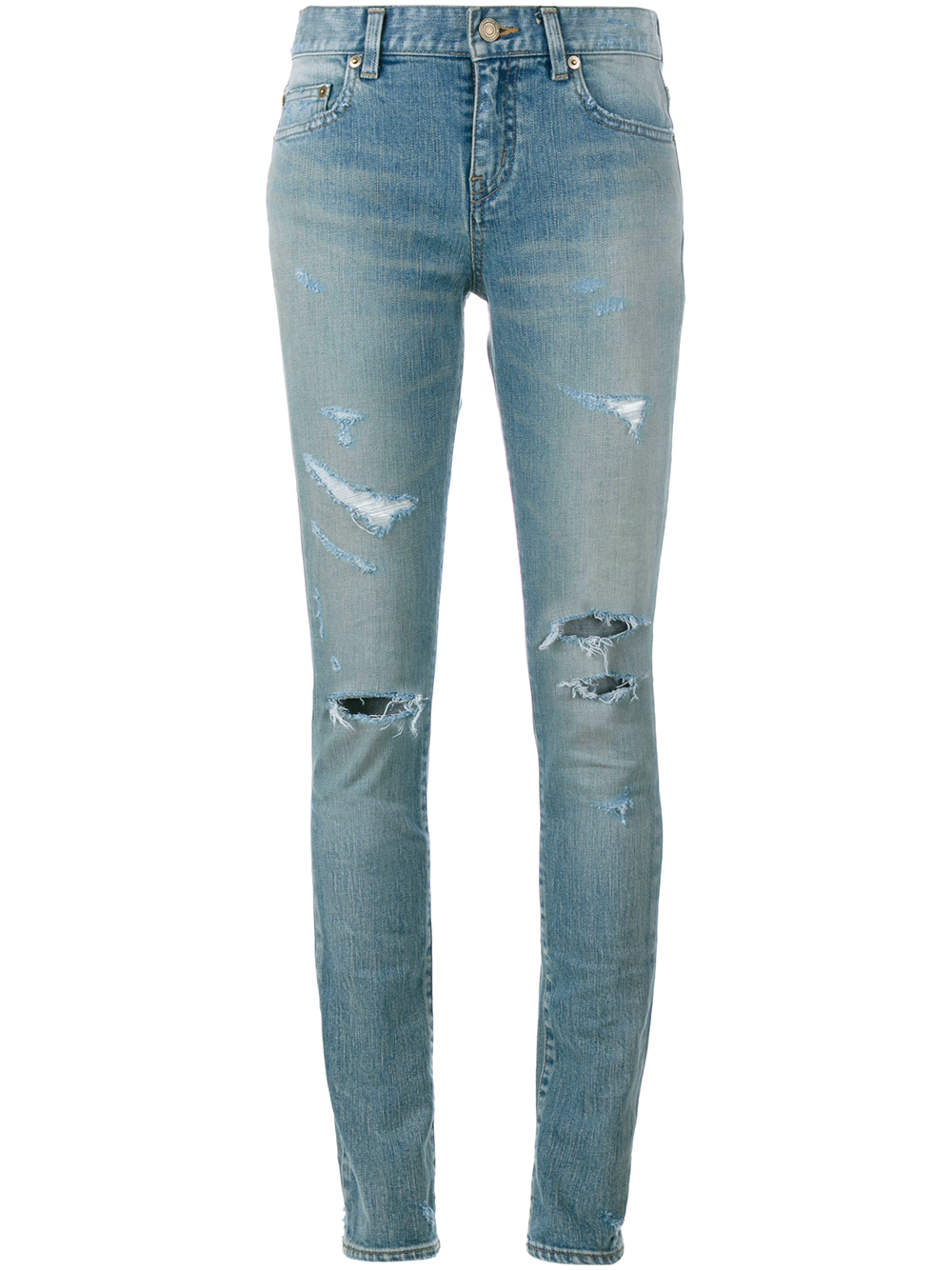 saint laurent ripped jeans in blue denim lyst. Black Bedroom Furniture Sets. Home Design Ideas