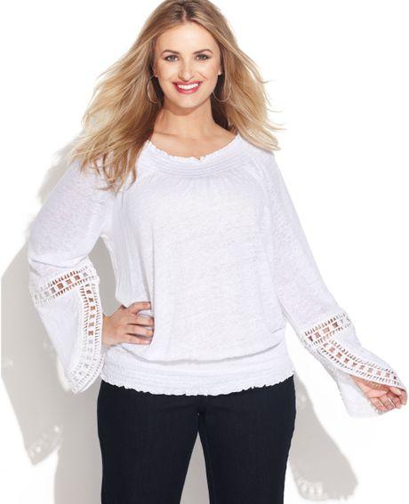 White Linen Peasant Blouse 103