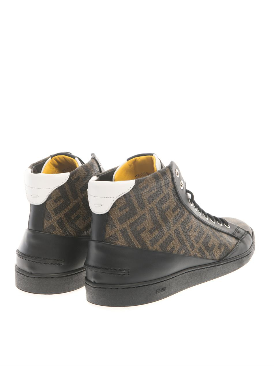 45c8f27502 Fendi Brown Wimbledon High-Top Leather Trainers for men