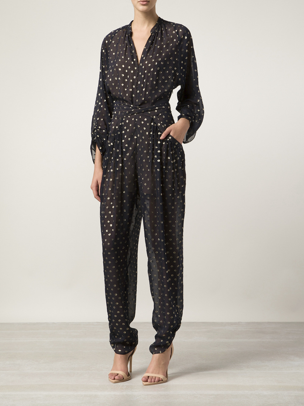 Stella Mccartney Lame Dot Jumpsuit In Metallic Lyst