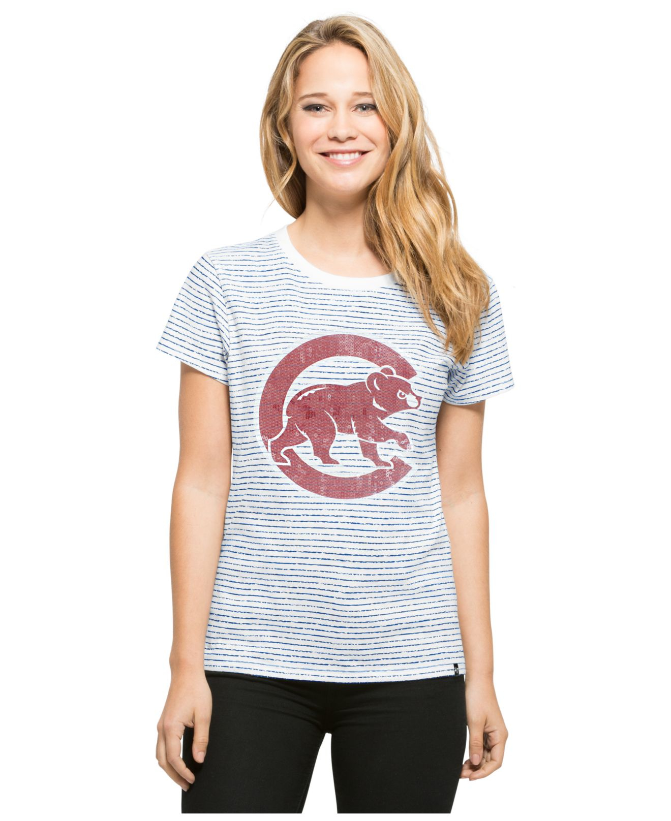 a0340646220 Lyst - 47 Brand Women s Chicago Cubs Sparkle Stripe T-shirt in Gray