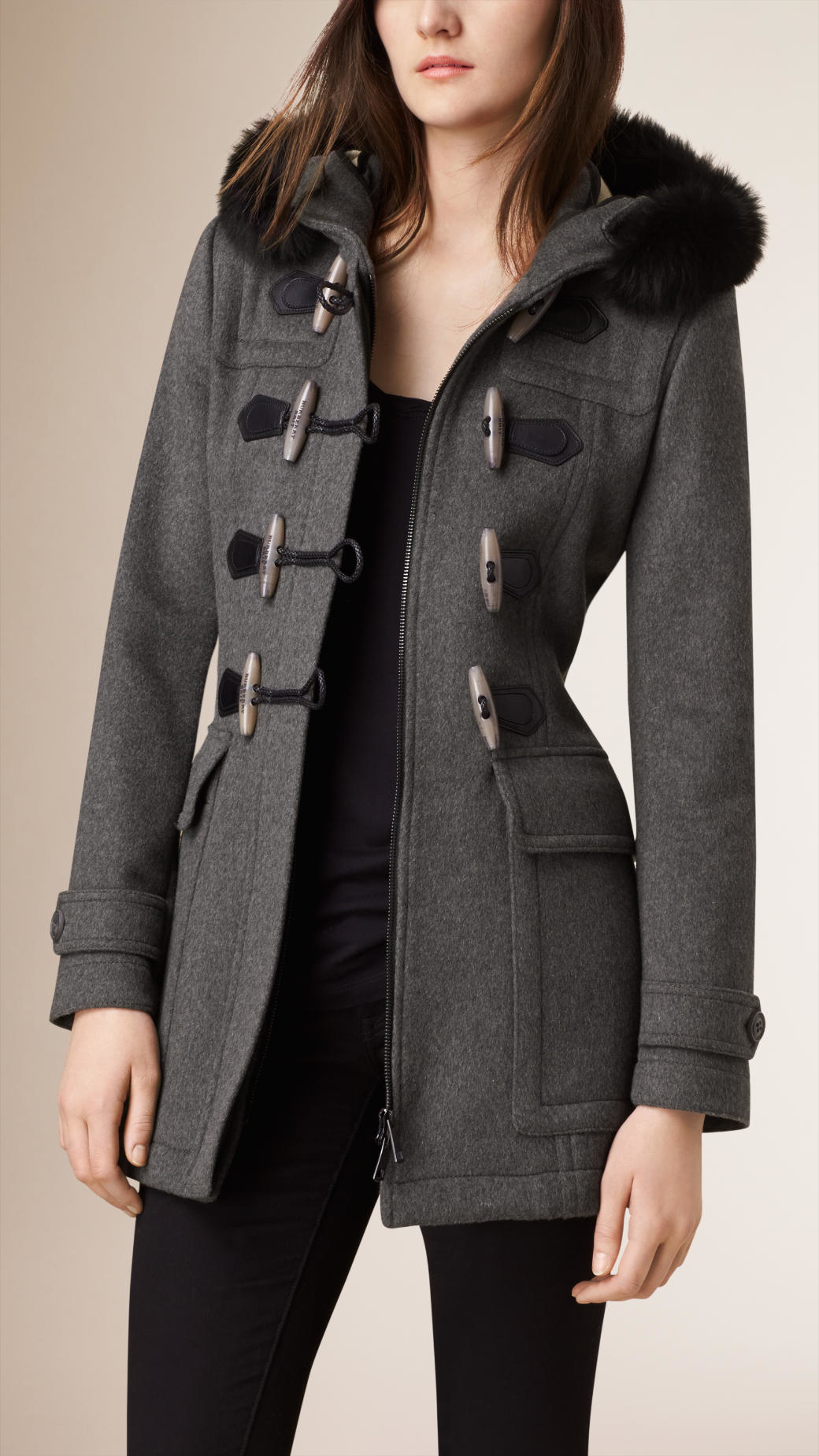 Womens grey duffle coat – Modern fashion jacket photo blog