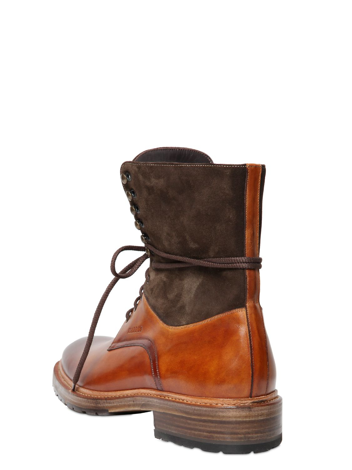 harris washed leather suede lace up boots in brown for