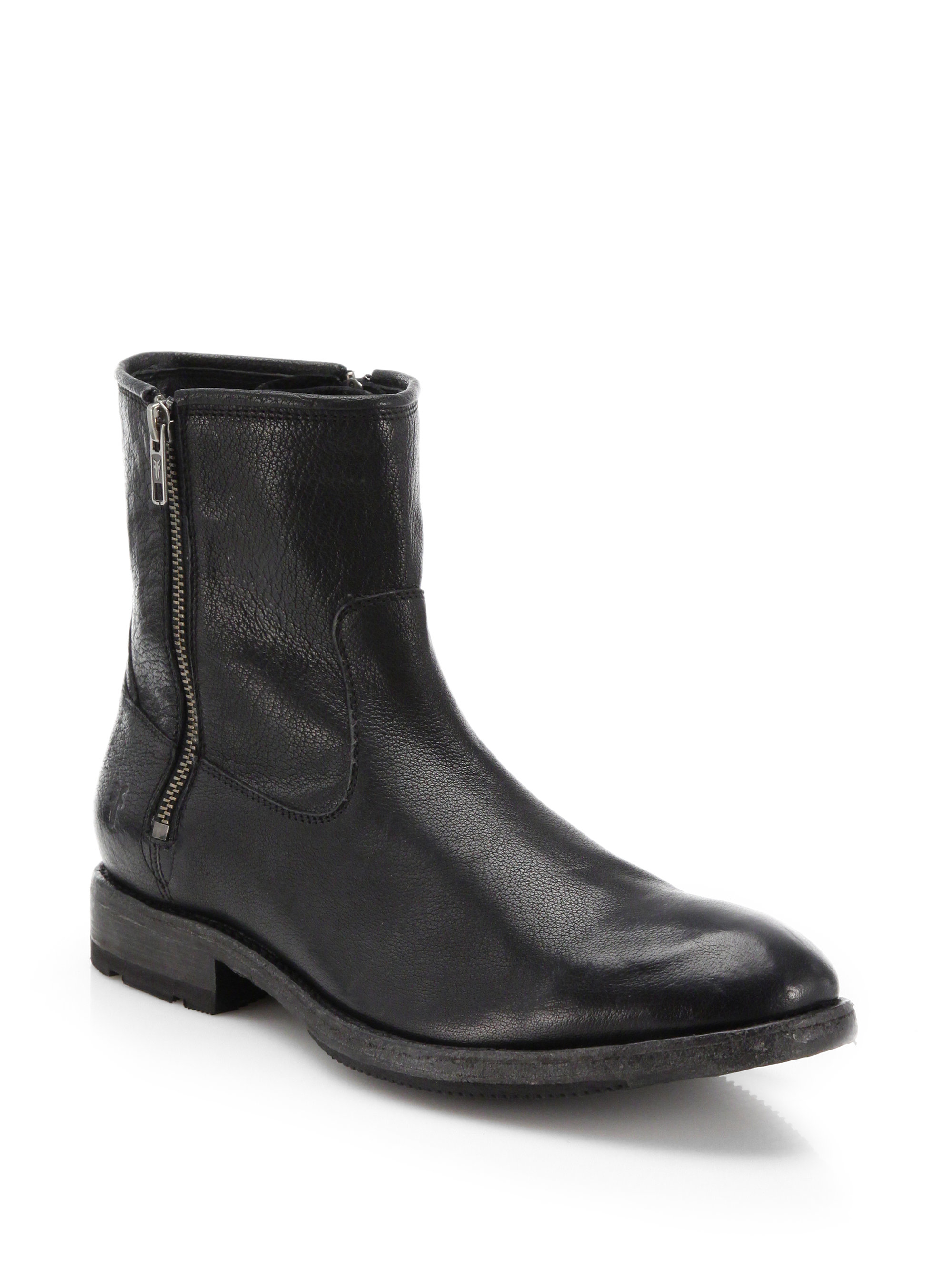 Lyst Frye Ethan Leather Double Zip Boots In Black For Men