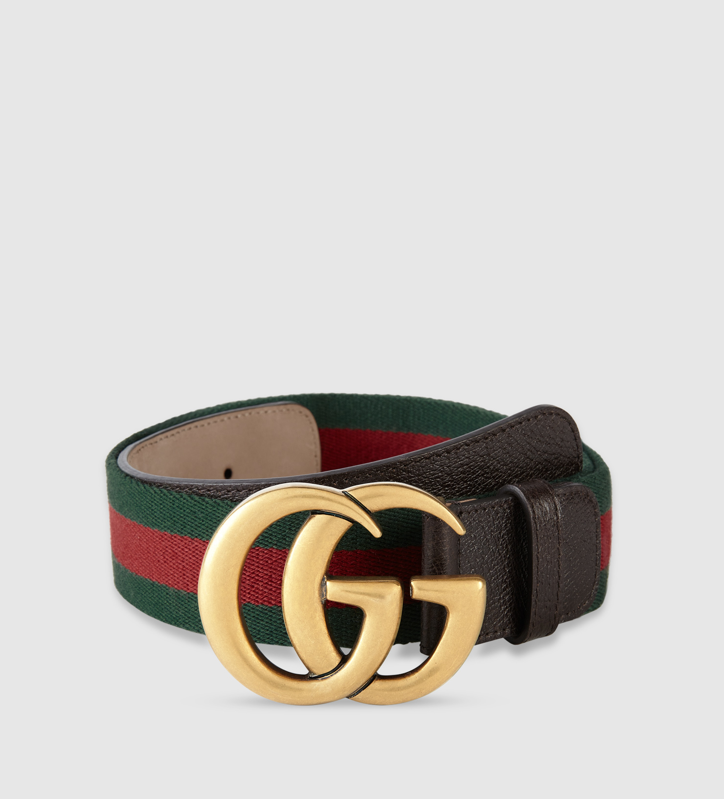 Lyst Gucci Web Belt With Double G Buckle In Metallic